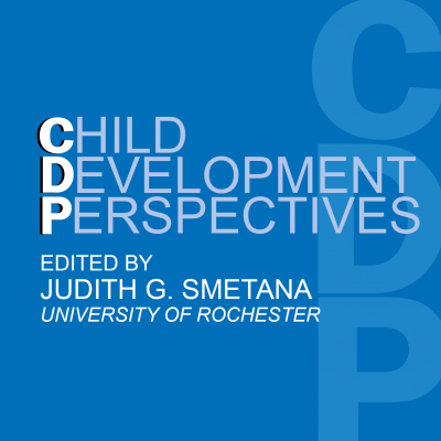 Square image with the Child Development Perspectives Journal cover on a blue background. Editor-in-Chief of Child Development Perspectives journal is Judith G. Smetana from University of Rochester