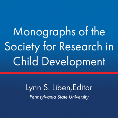 Square image with the Monographs Journal cover on an ombre blue background. Editor-in-Chief of Monographs is Lynn S. Liben from Pennsylvania State University