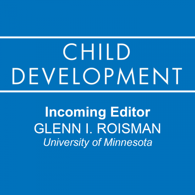 Square image with the Child Development Journal logo on a blue background. Incoming Editor of Child Development journal is Glenn I. Roisman from University of Minnesota