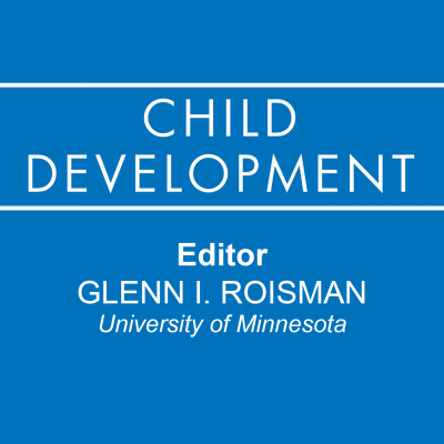 Square image with the Child Development Journal logo on a blue background. Editor of Child Development journal is Glenn I. Roisman from University of Minnesota