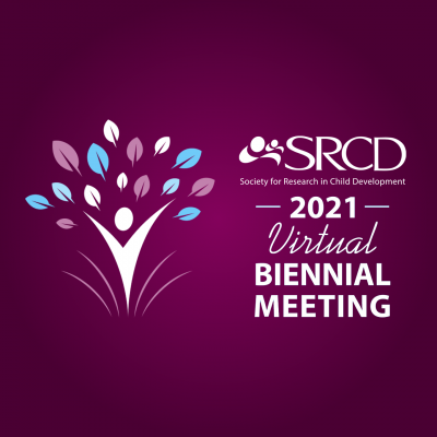 SRCD 2021 Virtual Biennial Meeting over a dark purple background
