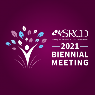 SRCD 2021 Biennial Meeting over a dark purple background