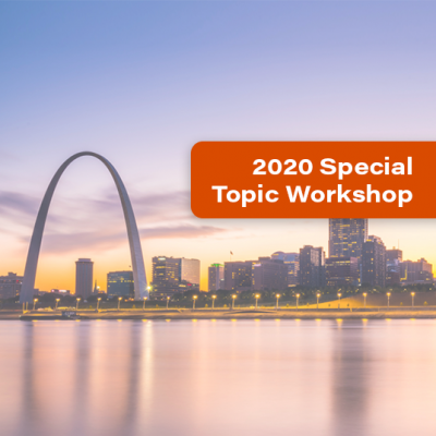 St. Louis, Missouri skyline and an orange banner that says 2020 Special Topic Workshop