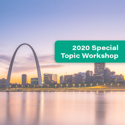 St. Louis, Missouri skyline and a teal banner that says 2020 Special Topic Workshop
