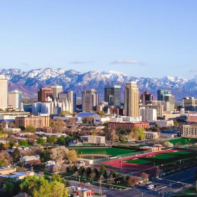 Skyline view of Salt Lake City, Utah, USA