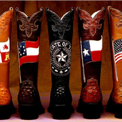 Row of decorated, leather cowboy boots