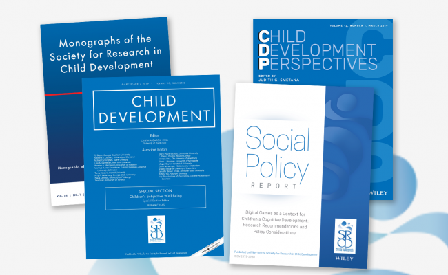 SRCD Journal covers, Child Development Journal, Child Development Perspectives, Monographs of the Society for Research in Child Development, and Social Policy Report