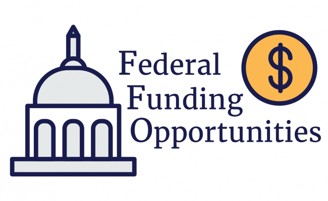 Federal Funding Opportunities logo, a graphic of a government building with a United States coin